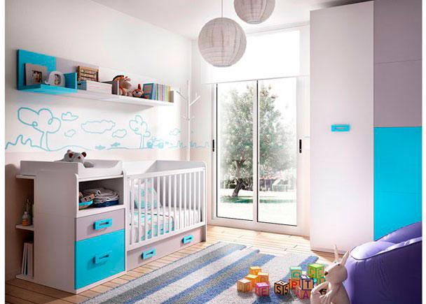 Dormitorio para bebés con cuna convertible SMALL con cambiador y cajón nido en la parte inferior. Lo completamos con un armario recto de 100 cm.