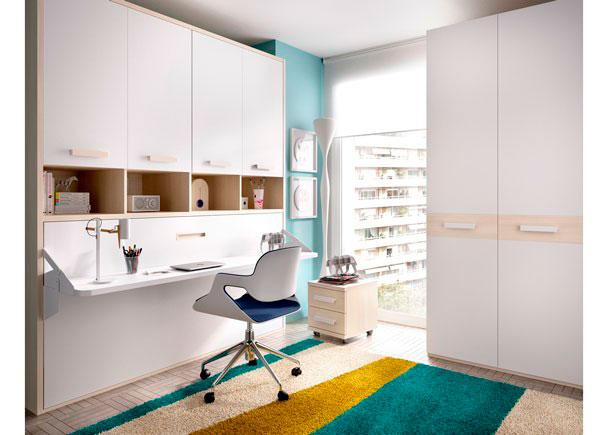 <p>Habitación Juvenil, con cama abatible horizontal con escritorio de 40 cm F + Armario superior de 4 puertas batientes con librería central.</p>