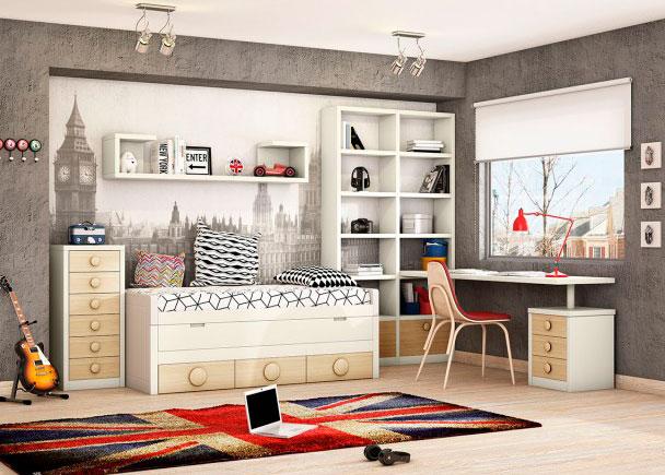 <p>Compacto bicama con deslizante y base de 3 cajones. Cuenta con librer&iacute;a, estantes de pared, escritorio y sinfonier de cajones.</p>