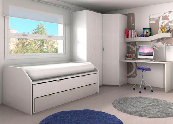 <p>Habitaci&oacute;n juvenil equipada con nuestro novedoso compacto F1 con base de 3 cajones.<br />La cama intermedia de este compacto tiene la particularidad de que se puede colocar invertida, es decir, con la parte posterior hacia el frente.<br />Incluye taladros de aireaci&oacute;n en la base de tablero de ambas camas y un rebaje trasero para el rodapi&eacute;.&nbsp;<br /><br />Complementos:<br />Armario en &aacute;ngulo plegable de 3 puertas de 219 h x 160 x 100 x 56 F (5 estantes en uno de los cuerpos)&nbsp;<br />Zona de estudio con encimera de sobre recto<br />Estante de pared modelo Surf-2&nbsp;</p>