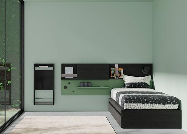 <p>Dormitorio juvenil funcional con cama modular compuesta por 2 cajones de 1 metro de ancho x 1 metro de fondo. El ambiente se completa con unos paneles con estantes y repisas.</p>