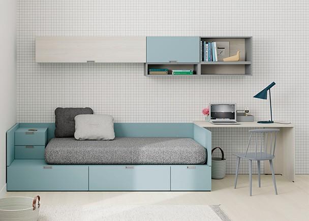 <p>Juvenil con cama modular de cajones y zona estudio compuesta por un escritorio minimalista de sobre recto.</p>