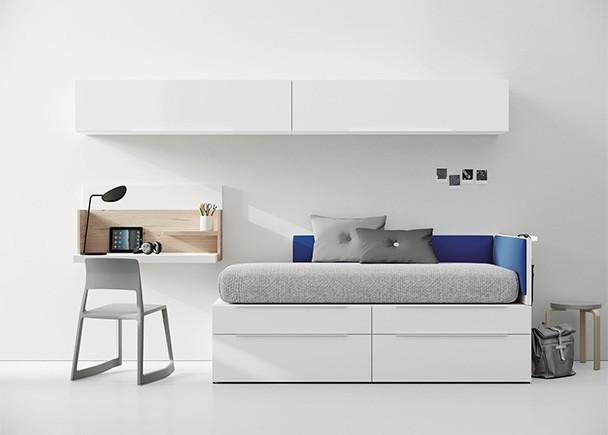 <p>Dormitorio juvenil con cama modular de 2 niveles, compuesta por módulos base de 1 cajón de gran capacidad y modulos apilables</p>