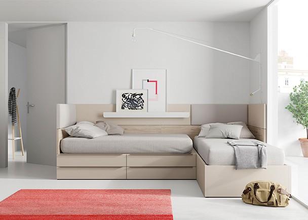 <p>Dormitorio infantil con 2 camas modulares dispuestas en &aacute;ngulo.</p>