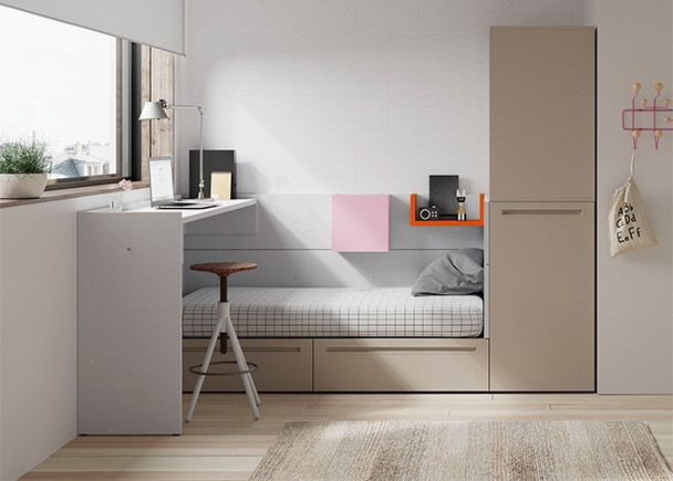 <p>Dormitorio juvenil con cama modular de dos cajones, arc&oacute;n extra&iacute;ble con estantes y altillo de 2 puertas batientes</p>