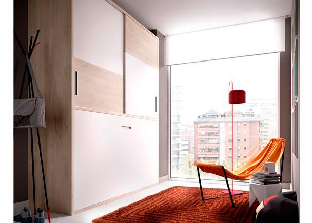 <p>Habitación Juvenil, con cama abatible horizontal + Armario superior de puertas correderas.</p>