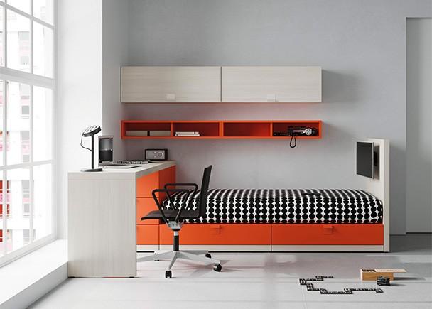 <p>Dormitorio juvenil equipado con una cama compuesta a base de m&oacute;dulos cubo y lateral para fijar otros elementos modulares. El ambiente cuenta con zona de estudio y composici&oacute;n mural.</p>