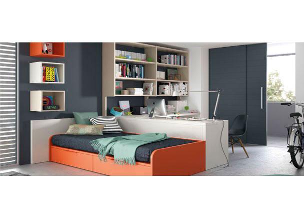 <p>Si tu habitación no tiene demasiados metros, esta composición es ideal para organizar una zona de estudio y otra de descanso.</p>
