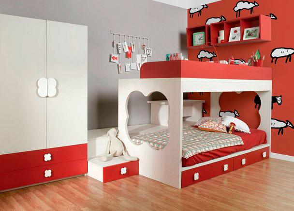 <p>Habitación infantil con literas, armario, 1 arc&am