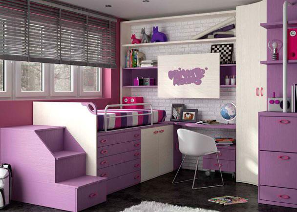 Habitación infantil compuesta por cama compacto alto con bajo 5 cajones y 2 puertas y escalera arcón con cajón; arcón zapatero extra