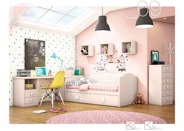 <p>Dormitorio con nido con arrastre. Con arcón de puerta extraíble, escritorio, módulo sinfonier de 6 cajones y cubos diáfanos en la pared.</p>