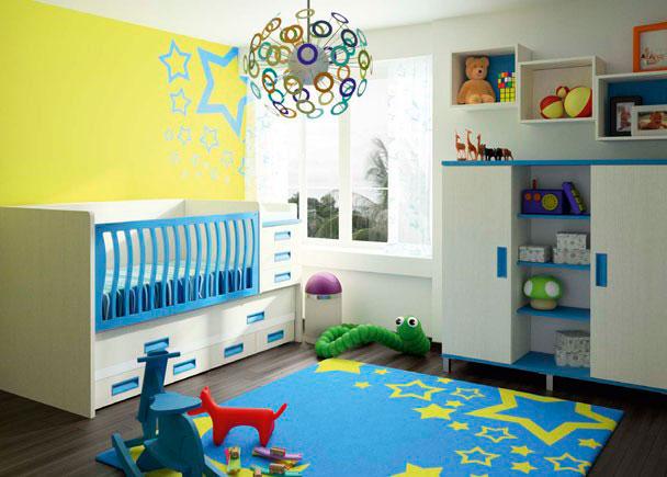 Dormitorio bebé compuesto por cuna convertible para colchón de 70x140 a 90x190 con colchón para cambiador y cama extraible con cabecero cur