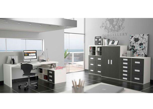 <p>Despacho moderno tanto para uso dom&eacute;stico como profesional, muy completo con puertas, cajones, archivadores, estantes y mesa con fald&oacute;n ajustable</p>