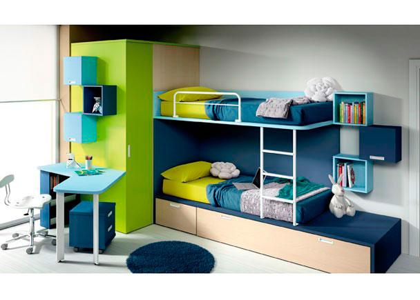 Habitación infantil cama tren con 1 cajón contenedor y arrastre nido, vestidor 1 puerta de 158.9x237x104 izq., mesa con sobre curvado de 110x150 d
