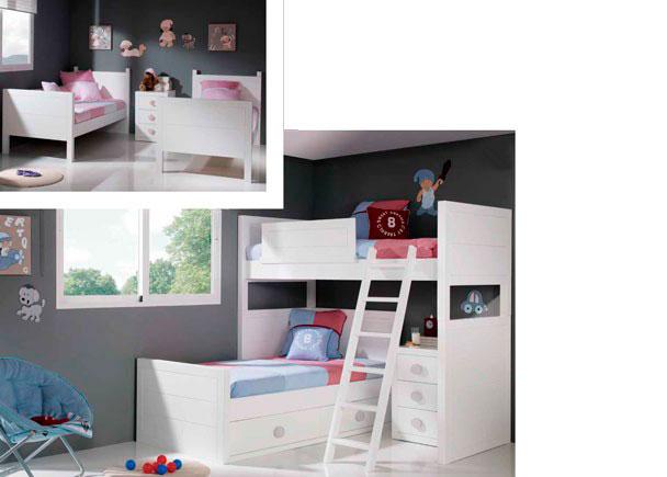 Dormitorio infantil con litera colonial para camas de 900 x 190 y escalera larga. La litera dispone además de una tercera cama gracias a su modulo base c