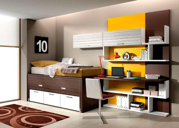 <p>Juvenil compuesto por cama nido con cajones inferiores, estanteria con paneles de color, estantes y módulo de puertas con portón elevable y mesa de estudio</p>