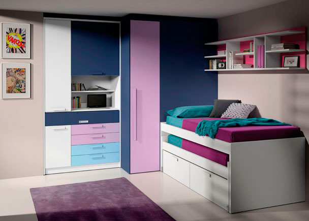 <p>Dormitorio juvenil compuesto por bicama de 2 cabezales rectos de 90x190, mueble escritorio, vestidor fijo de 1 puerta izq. y estantería blog de 203 cm.</p>
