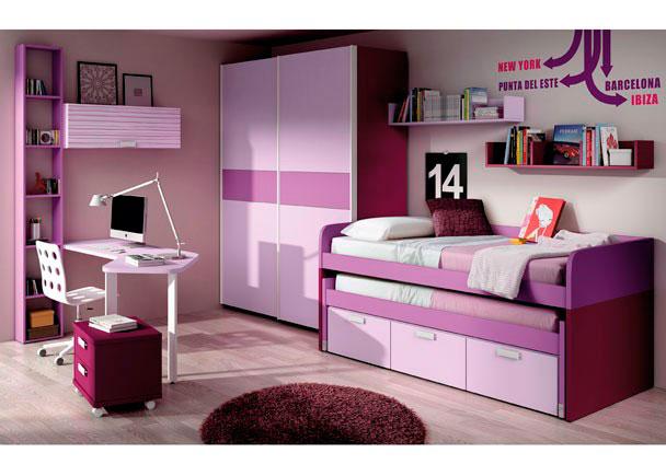 <p>Dormitorio con armario puertas correderas, camas con cajones, estantería pared con módulos, módulo 2 cajones con ruedas, librería y mesa de estudio.</p>