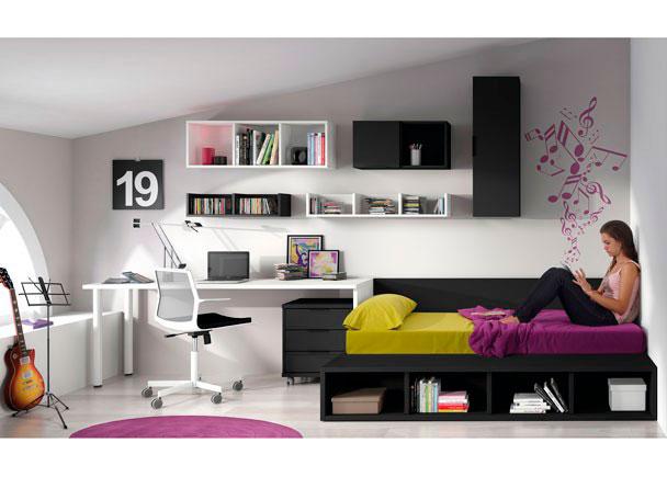 <p>Dormitorio juvenil cama tatami de 137x197.5 elevable, mesa recta de 200x55, estanterías a pared y módulos con puertas.</p>