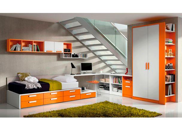 <p>Dormitorio juvenil con una distribuci&oacute;n original y abierta en un espacio di&aacute;fano</p>