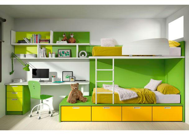 <p>Habitaci&oacute;n infantil con litera tren y bajo con 4 cajones contenedores, escritorio menguante de 202x55 y estanter&iacute;as a pared.</p>