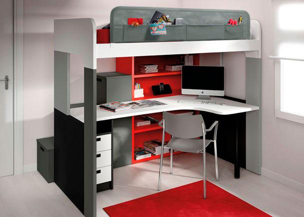 <p>Habitación infantil con litera de 104x202, módulo estantería, escalera con 3 contenedores y mesa en ángulo.</p>