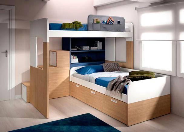 <p>Habitación infantil litera con arcón, librería y escalera. Compacto con 3 contenedores.</p>