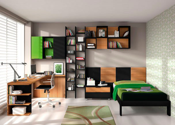 Dormitorio juvenil con 2 componentes básicos, por una parte la cama con aro y cabezal corrido que llega hasta la mesita