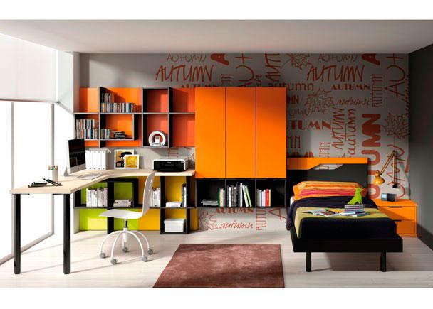 <p>Dormitorio juvenil cama travel de 100x202 con módulo de 2 cajones y sobre de rincón curvo de 200x146, estanterías de pared con módulos box con puertas.</p>