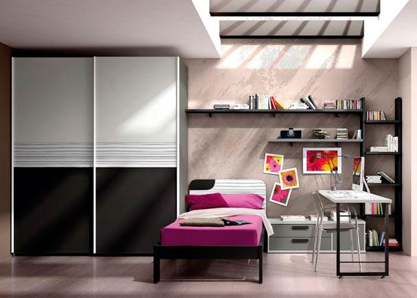 <p>Dormitorio cama skin de 90x190, módulo bajo 2 cajones y 1 puerta, sobre recto con pata metálica, librería, estante de pared y armario puertas correderas.</p>