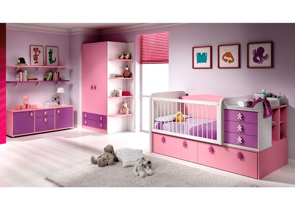 Dormitorio Bebé con Cuna convertible con cajones, Nido, Armario, Módulo 2 puertas, 1 cajón, Contenedor y Estantes pared.