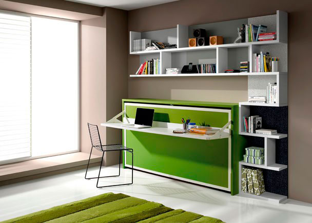 <p>Dormitorio juvenil con cama abatible horizontal de 90x190 con escritorio integrado y estanterías a pared.</p>
