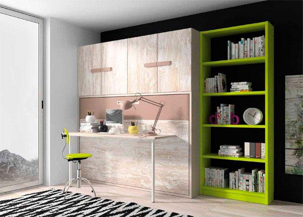 Habitación juvenil con litera abatible horizontal con dos camas de 90 x 190 con escritorio plegable y librería.