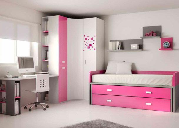 Dormitorio juvenil compacto superior con cama deslizante de 90x190 e i