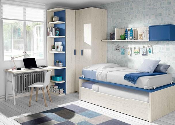 <p>Habitación juvenil con compacto bicama, armario rincón con estantería terminal y escritorio de sobre recto. Como coplementos cuenta con un estante de pared con trasera y un módulo de puerta elevable.</p>