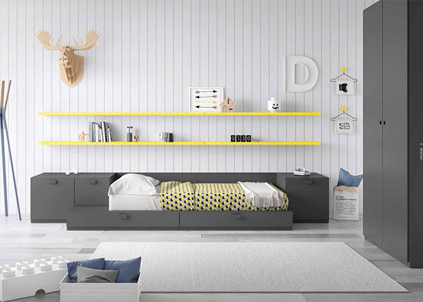<p>Dormitorio infantil con cama modular y armario recto de 2 puertas con cajonera interior. Como complementos, unos estantes de pared con soporte oculto.</p>