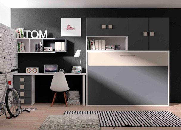 Dormitorio infantil con litera abatible horizontal con armario superior y zona de estudio compuesta por un escritorio de sobre recto con cajonera y composici&oa