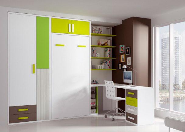 <p>Dormitorio juvenil espacialmente diseñado para espacios reducidos.<br />Cuenta con una cama abatible vertical, perfectamente integrada junto a un armario de 3 puertas.<br />Dispone además, de todos los elementos necesarios para completar una zona de estudio amplia y comoda , gracias a una mesa de escritorio en rincón. <br />La mesa se apoya sobre un módulo bajo de 4 cajones, sobre una librería especial para base de mesas estudio y un costado adicional de refuerzo.<br /><br />En la pared, hemos colocado una librería de sobremesa de 162 h x 106 de ancho x 26 F<br />Además, la cama abatible, cuenta con un práctico maletero en la parte superior.<br /><br /></p>