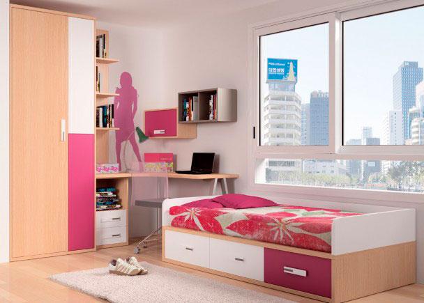 <p>Luminoso dormitorio juvenil, amueblado con cama nido para colchón de 90 x 190 con base de tablero, que dispone de arcón con tres amplios cajones contenedores en la parte inferior.<br />La cama se ha rematado con unos brazos y respaldo a juego con algunos de los complementos.<br />La zona de estudio, la compone una encimera de rincón con canto exterior suavizado en curva.<br />La mesa descansa sobre un módulo bajo de 2 cajones + hueco y sobre una pata metálica triangular en gris.<br />A continuación, se ha colocado un aarmario de 3 puertas, de 215 de altura x 90 cm de ancho.<br />Sobre la mesa se apoya una librería de sobremesa de 137 cm de altura.</p>