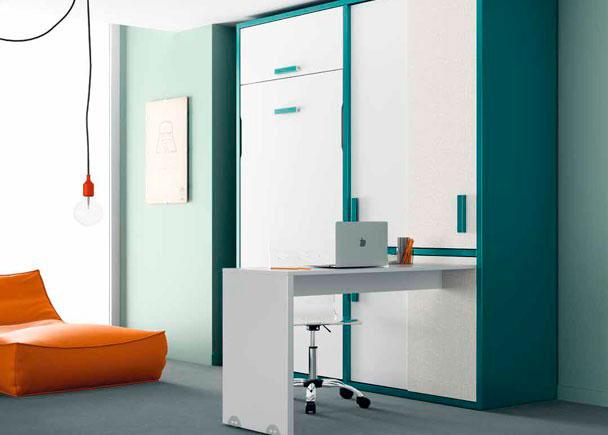 Habitación juvenil con cama litera vertical de 190 x 90 y armar
