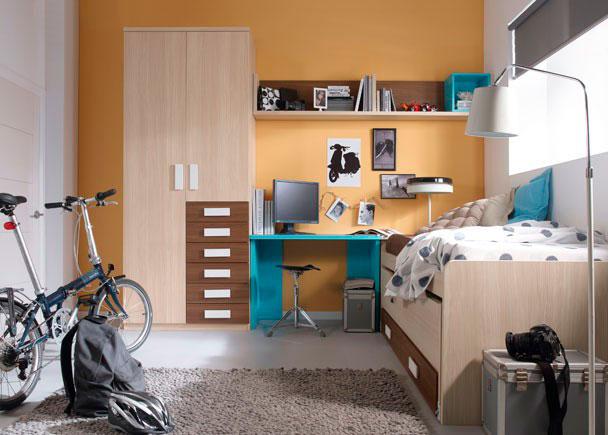 <p>Dormitorio juvenil con cama compacta y nido oculto abatible con dos gavetas.</p> <p></p> <p>Mesa de estudio con encimera recta de 104 cm en color turquesa soportada por dos costados en ángulo del mismo color que la encimera.<br />Composición mural compuesta con un mueble diáfano abierto con trasera.<br />Armario recto estacional de dos puertas con 6 cajones vistos.</p>
