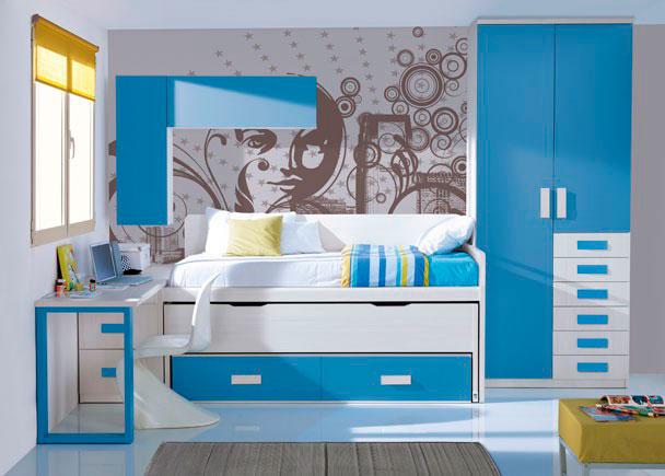 <p>Habitaci&oacute;n juvenil con armario recto de dos puertas y 6 cajones vistos.</p> <p>&nbsp;</p> <p>Compacto de dos camas con nido oculto y dos contenedores grandes. Panel trasero recto con forma a ambos lados para aislar la cama del contacto directo con la pared.</p> <p>&nbsp;</p> <p>Encimera recta de 204 apoyada sobre un pie doble a tono en uno de sus lados y sobre un arc&oacute;n extra&iacute;ble de dos contenedores.</p> <p>&nbsp;</p> <p>Composici&oacute;n mural realizada a base de dos m&oacute;dulos altos de puerta abatible, uno colocado en vertical y el otro en posici&oacute;n horizontal.</p>