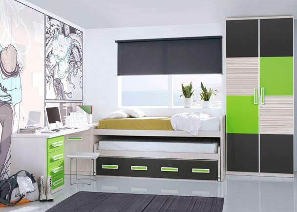 <p>Luminosa habitaci&oacute;n juvenil con armario de 1 m de ancho, con dos puertas acabadas con 4 paneles de colores variados.</p> <p>&nbsp;</p> <p>Mueble compacto de dos camas con 4 contenedores.</p> <p>&nbsp;</p> <p>Zona de estudio realizada con encimera recta de 240, apoyada en uno de sus lados sobre un arc&oacute;n zapatero de 49 cm de fondo y sobre un m&oacute;dulo bajo de 4 cajones acabado en color, en el otro de sus extremos.</p>