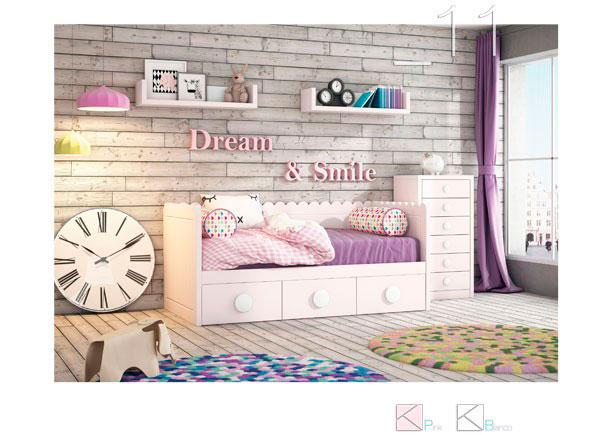 <p>Cama nido de linea romantica con base de 3 cajones y respaldo modelo ONDAS. El dormitorio cuenta adem&aacute;s con un m&oacute;dulo sinfonier de 6 cajones.</p>