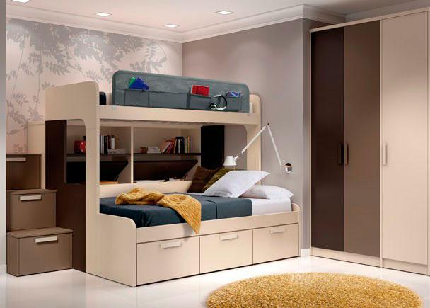 <p>La cama superior tiene una medida habitual para colchón de 90 x 190, mientras que la cama de abajo está diseñada para un colchón de 135.</p>