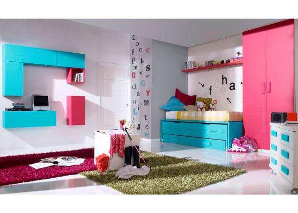 <p>Divertida habitación infantil provista de un vistoso armario de 1 m de ancho con dos puertas.</p>