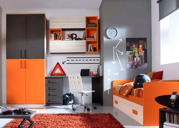 Habitación infantil con Armario estaciones de 1m con 4 puertas, módulos y cajones, Escritorio, estanterías y cama nido