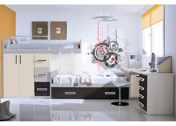 <p>Dormitorio infantil con camas tipo tren.<br />El conjunto se compone de una cama base para m&oacute;dulos de 115 y una trasera soporte para camas tipo block.&nbsp;<br />La cama se apoya sobre dos m&oacute;dulos, uno de 80 de ancho con 2 puertas y otro de 40 de ancho con 3 contenedores combinados en colores diferentes.<br />La cama inferior es una cama nido de 90 x 190 con arrastre.<br />Por &uacute;ltimo, se ha completado la zona de descanso con una escalera especial para camas tipo tren y una barandilla quitamiedos.<br />La zona de estudio se ha creado con una encimera recta de 240 que descansa sobre un arc&oacute;nzapatero situado junto a la cama inferior, y sobre un m&oacute;dulo &nbsp;bajo de 4 cajones.</p>