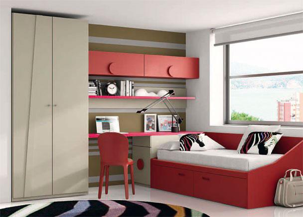 Dormitorio juvenil equipado con armario de 2 puertas (una lisa y una modelo