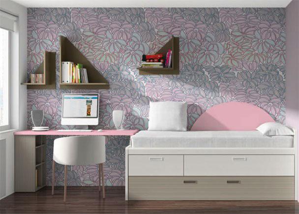 <p>Dormitorio infantil con mueble compacto asimétrico para somier de 90 x 190, que incorpora dos cajones y arrastre.</p>